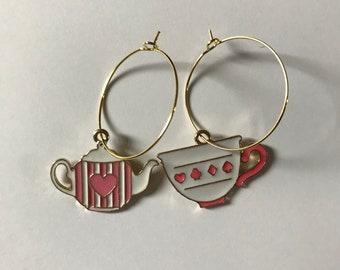 Teapot and teacup hoop earrings