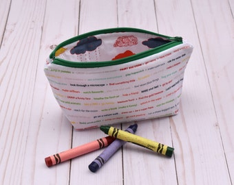 Adventure Pencil case, art pouch, small cosmetic bag, toiletry bag, jewelry bag, makeup bag, adventure, red, green, rain clouds