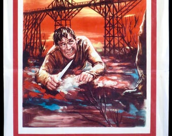 "The Bridge on the River Kwai ~ 1957 Original Italian Locandina 13""x29"" in VG Condition ~ GUINNESS & HOLDEN Star for David Lean!"