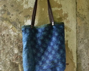 Indigo bag eco friendly cotton blue green hippie sustainable rustic minimalist environmentally friendly earthy hand stitched boho chic totes