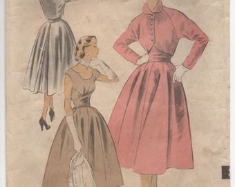 """1950's Advance One Piece Dress with Detail Neckline, Full Skirt and Bolero Pattern - Bust 30"""" - No. 6049"""