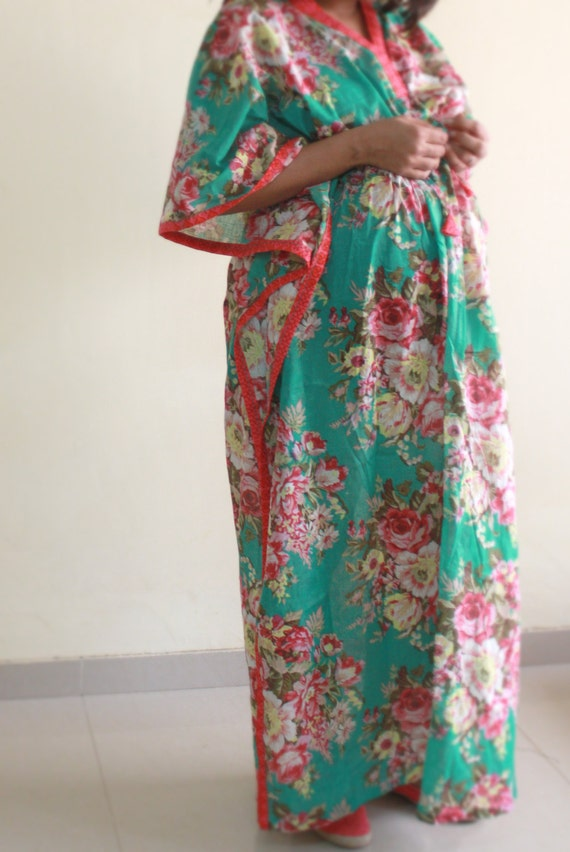 Long Floral Feeding gown / DELIVERY gown / Maternity robe for
