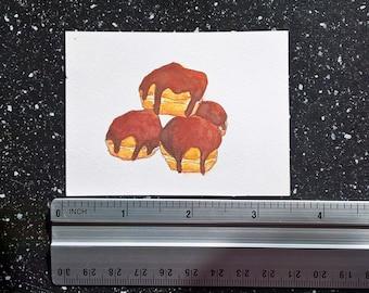 ORIGINAL ACEO food illustration on watercolor paper   Profiteroles