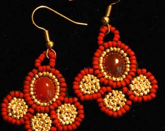 Red Beaded Cabochon Earrings