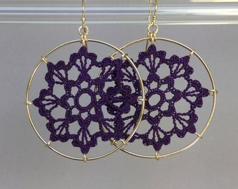 Scallops doily earrings, purple hand-dyed silk thread, 14K gold-filled