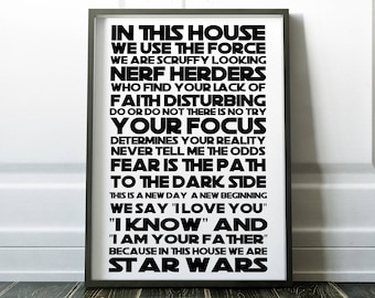 Star Wars In this house Gift for Dad Poster Star Wars Quotes Yoda Luke Skywalker Star Wars Fan Birthday Gift for him Housewarming present