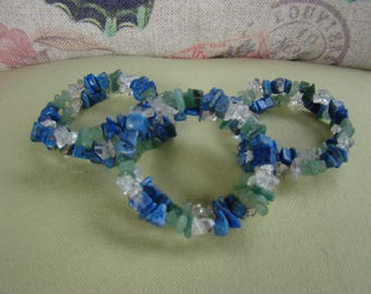 Clear Quartz, Lapis Lazuli and Aventurine Bracelet (memory wire)