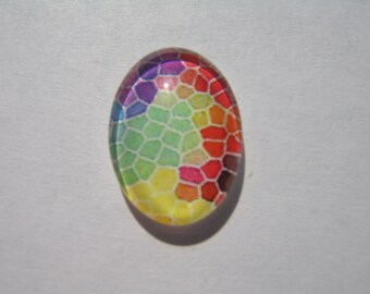 Cabochon 13 x 18 mm with a multicoloured mosaic pattern