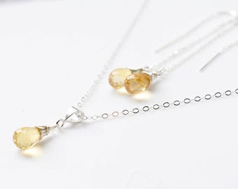Silver Citrine Necklace, Citrine Earrings, November Birthstone Jewelry, Citrine Pendant, Yellow Stone Necklace, Crystal Necklace Citrine Set