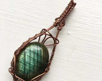 Green Labradorite Antique Copper Wire Wrapped Necklace