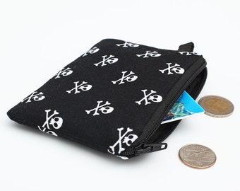 Black Coin Purse, Zippered Skulls Pouch, Crossbones Zip Purse, Mini Coin Bag, Small Makeup Bag - white skulls and crossbones in black