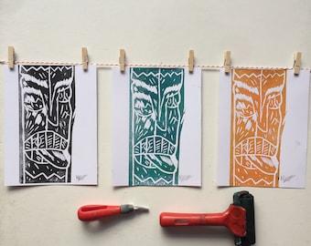 A5 Linocut Print Tiki, Mask, Handmade, Handprinted, Home Decor, Art
