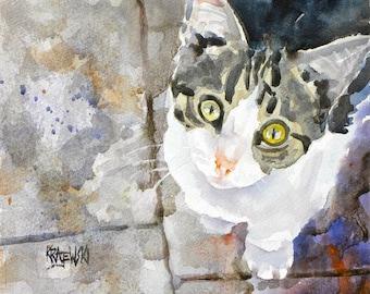 Tabby Kitten Art Print of Original Watercolor Painting - 11x14 Cat Art