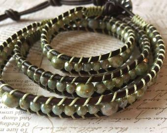 Triple Wrap Dark Brown Leather Beaded Bracelet
