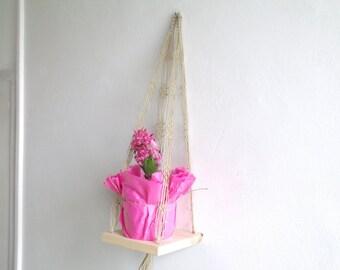 Mini shelf Macrame hanging linen swing