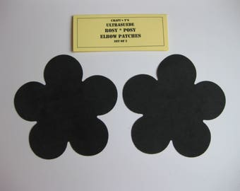 Elbow Patches - Rosy*Posy Black Ultrasuede - Set of 2