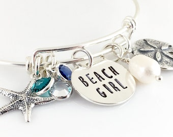Beach Girl Simply Charming Bangle Bracelet - sterling silver