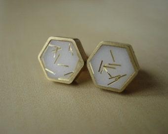 ivory with gold glitter sprinkles - mini brass hexagon stud earrings