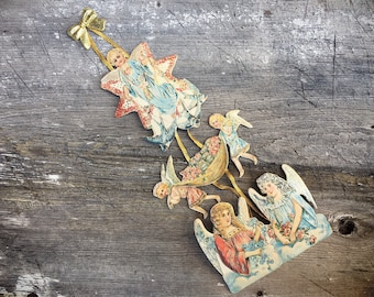 Vintage Christmas Paper Ornament of Victorian Angels, Reproduction Victorian Ornament