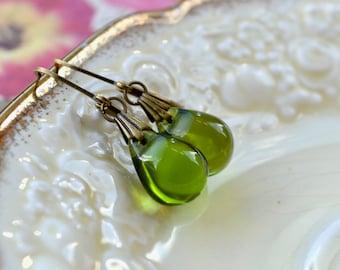 Olive Earrings, Green Drop Earrings, Tear Drop Earrings, Green Jewelry, Olive Green Earrings, Leverback, Wife Gift Ideas, Green Gifts Women