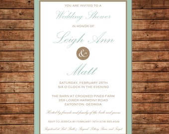 Wedding Invitation Formal Elegant Bridal Shower - Can personalize colors /wording - Printable File or Printed Cards