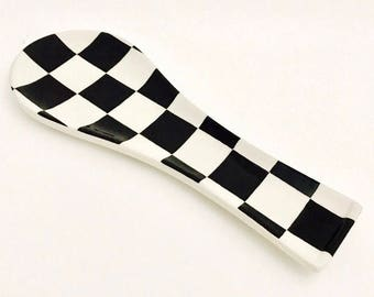 Spoon Rest. Checkerboard Spoon Rest. Handmade By Sara Hunter