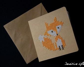 Embroidered postcard - Fox - cross stitch