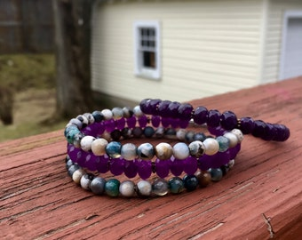Purple & Blue Mix Faceted Stack Bangles