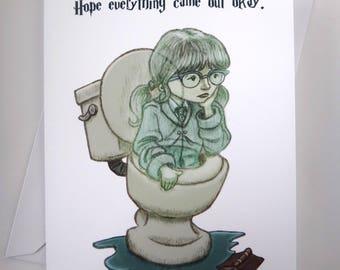 Moaning Myrtle Card, Harry Potter Card, Sympathy Card, Funny Card, Greeting Card, Joke Card, Harry Potter Greeting Card, Bathroom Decor