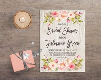 Floral Bridal Shower Invitation Printable, Boho Bridal Shower Invite Green Blush pink Bohemian Rustic Bridal Shower Invitation Summer