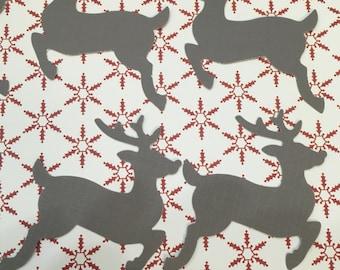 """Reindeer Die Cut - set of 10 Brown Deer 3"""""""