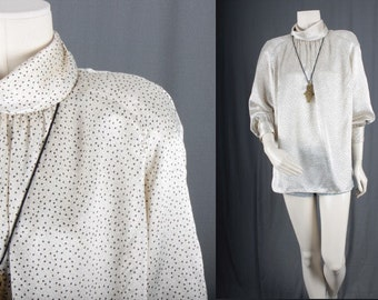 White blouse top spotted high neck tunic long sleeves women size M medium L large