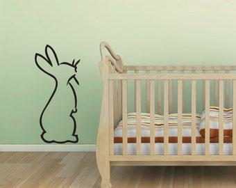 Hoppin Bunny Wall Decal-Nursery Decal Sticker, Baby Animal Decal, Country Nursery, Animal Wall Sticker, Bunny Rabbit Art, Rabbit Wall Decal