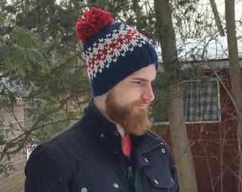 Chunky Knit Fair Isle Hat / Flint