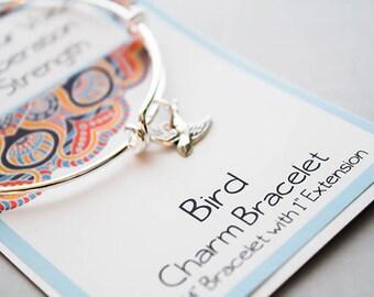 Bird Bracelet - Strength Bracelet - Totem Animal Jewelry - Inspirational Jewelry Bracelet - Charm Bangle Bracelet