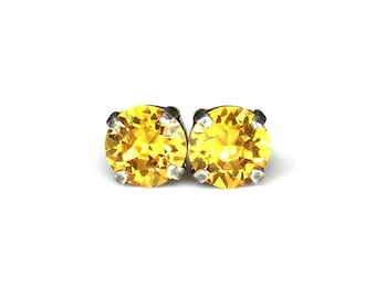 Surgical Steel Studs - Bright Yellow - Stud Earrings - 8mm Round