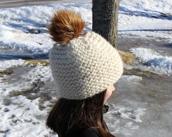 Purl Hat with Fur Pom Pom