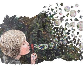 Blowing Bubbles Magazine Collage A3 Print 'Bubbles'