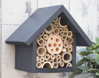 Mason Bee House and Insect Home, One Tier, in 'Urban Slate'. Can be personalised.