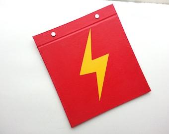 Running Bib Holder - Lighting Flash Runner - Gifts for Runners - Race Bib Book Hand-bound for Runners Red and Yellow