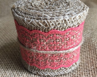 Burlap with coral lace ribbon - 2.5 inch x 6ft
