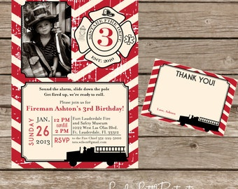 DIY Printable Vintage Fireman Birthday Invitation Kit - Invite AND Thank You Card included