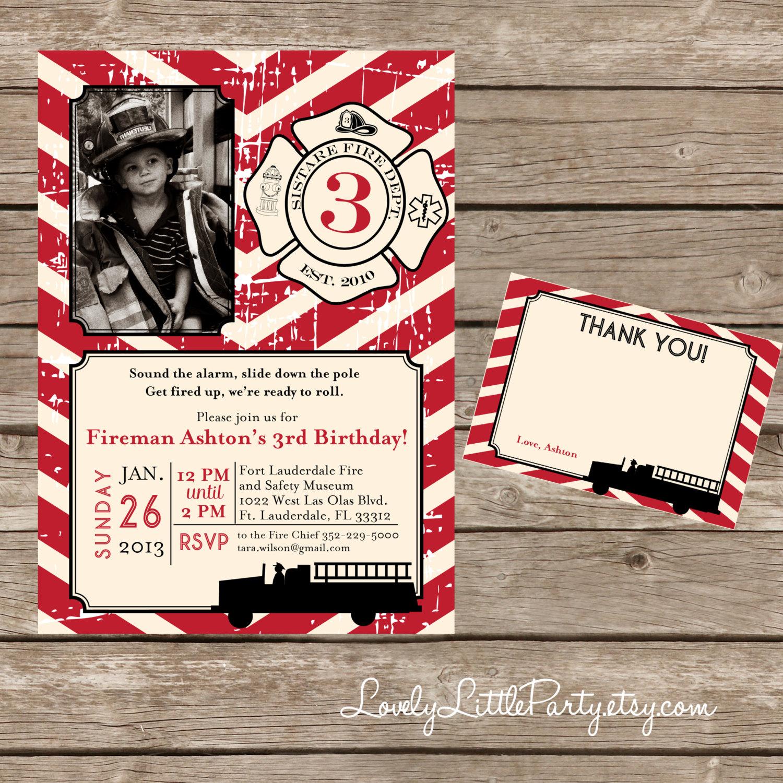 DIY Printable Vintage Fireman Birthday Invitation Kit Invite AND