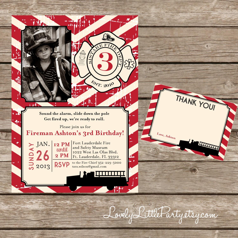 DIY Printable Vintage Fireman Birthday Invitation Kit Invite