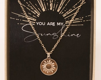 You are my sunshine necklace - Mothers Day Gift - Mom Necklace - Mom Gifts - Gold Sun Disc Necklace - Gift Jewelry