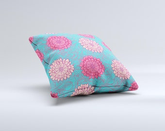 The Pink & Blue Floral Illustration ink-Fuzed Decorative Throw Pillow