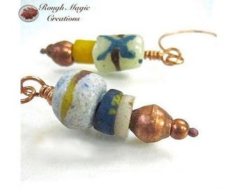 African Bead Earrings, Tribal Style Wabi Sabi Jewelry, Mismatched Boho Earrings, Primitive Copper, Ethnic Trade Beads Made in Africa E295
