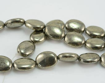 natural pyrite oval beads - smooth oval gemstone beads - fools gold oval beads - oval gemstone beads for jewelry making - 15 inch