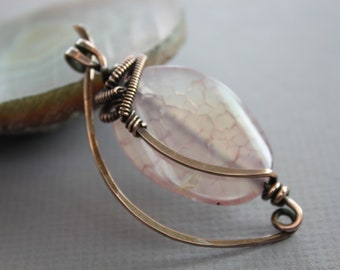WHILE SUPPLIES LAST - Copper shawl pin or scarf pin with wrapped pale pink agate stone - Fibula - Cardigan clasp - Knitting accessory