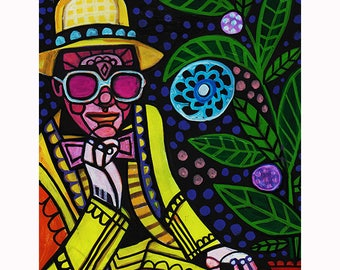 HUGE SALE- Elton John Art Print Poster by Heather Galler Music Icon Famous Musician Folk Art Yellow Brick Road